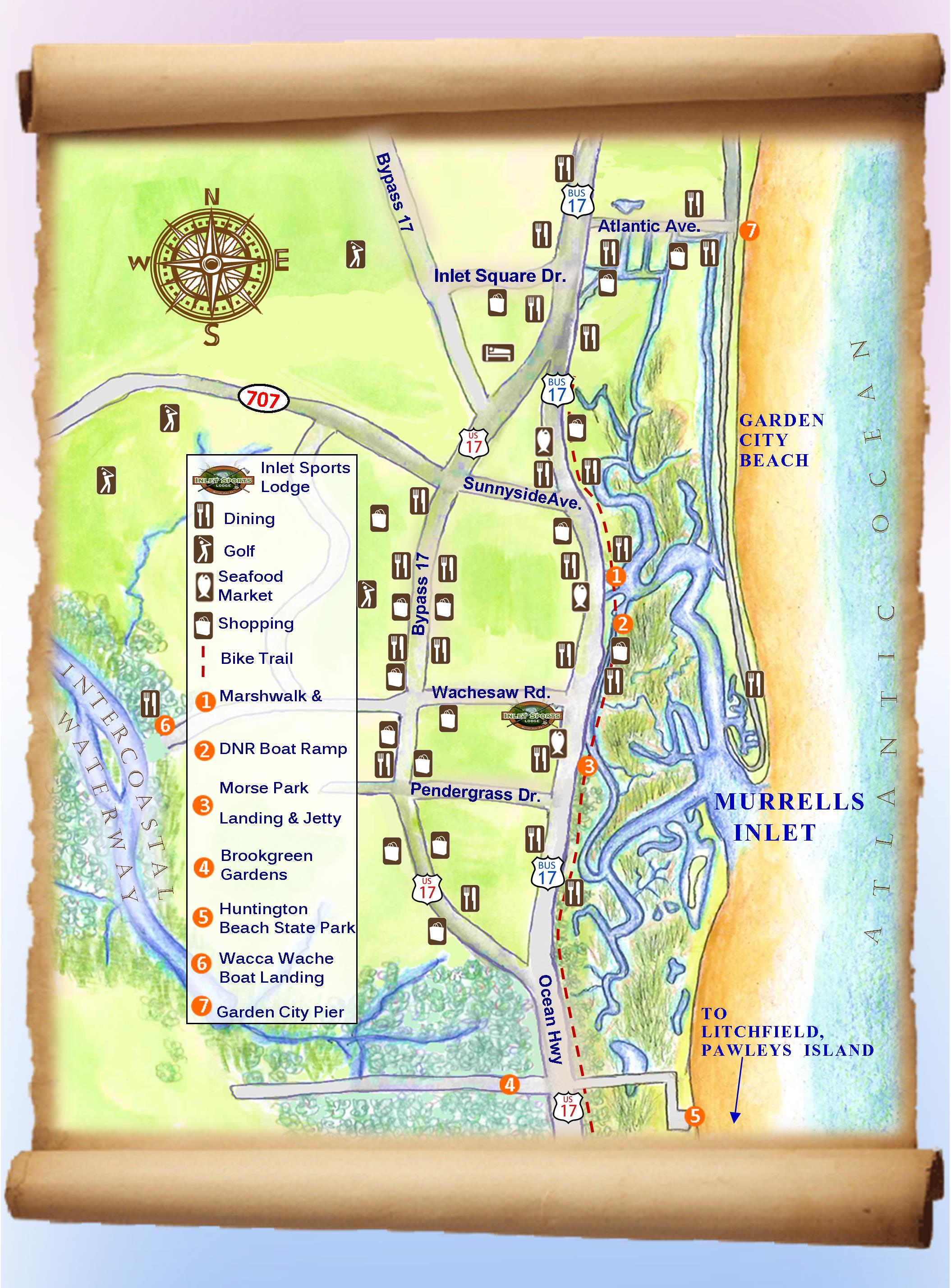 Murrells inlet map and upcoming events for Murrells inlet sc fishing